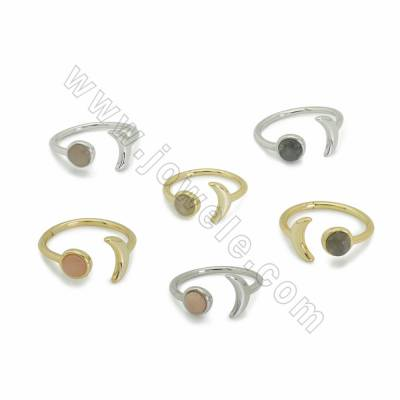 Natural Gemstone Cuff Rings, with Brass findings, inner diameter 17mm, Moon 10.5mm, 10pcs/pack