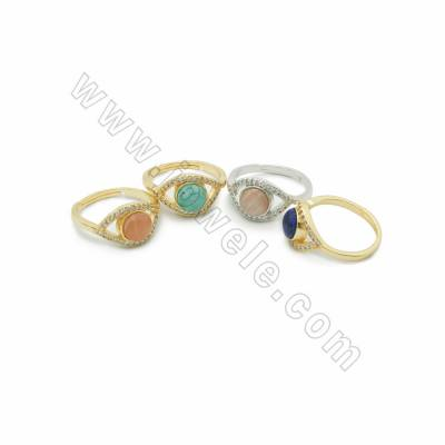 Natural Gemstone Rings, with Eyes Brass Findings Micro Pave Cubic Zirconia, inner diameter 17mm, 6pcs/pack