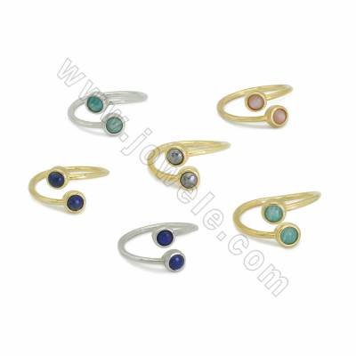 Natural Gemstone Cuff Rings, with Brass findings, inner diameter 20mm, Round 6mm, 10pcs/pack, (Adjustable)