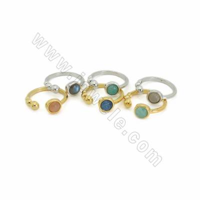 Natural Gemstone Cuff Rings, with Brass findings, inner diameter 18mm, Round 5.5mm, 10pcs/pack, (Adjustable)