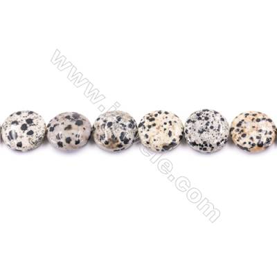 Natural Dalmatian Jasper Beads Flat Round  Diameter 20mm  hole 1mm  about 20 beads/strand 15~16""