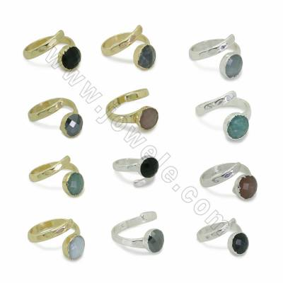 Natural Faceted Gemstone Cuff Rings, with Brass findings, inner diameter 19mm, Round 10.5mm, 6pcs/pack, (Adjustable)