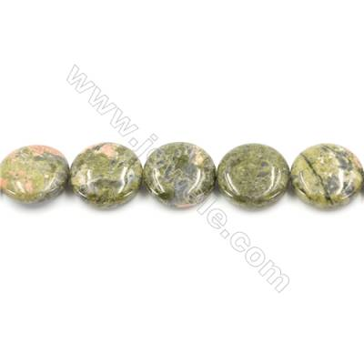 Natural Unakite Beads Strand  Flat Round  Diameter 20mm  hole 1mm  about 20 beads/strand 15~16""