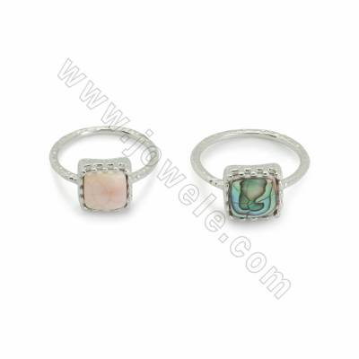 Natural Shell Cuff Rings, with White Gold Plated Brass findings, inner diameter 18mm, Square 10mm, 8pcs/pack
