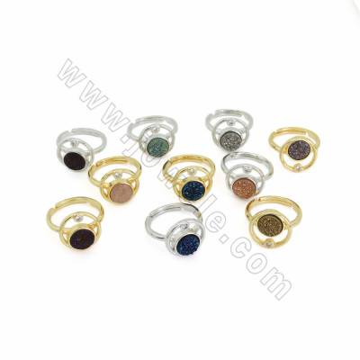 Electroplate Natural Druzy Agate Finger Rings, with Brass Cubic Zirconia Findings, Adjustable, inner diameter 17mm, 8pcs/pack