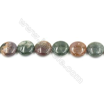 Natural Fancy Indian Agate Beads Strand  Flat Round  Diameter 20mm   hole 1mm   about 20 beads/strand 15~16""