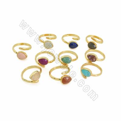 Natural Faceted Gemstone Cuff Rings, with Golden Plated Brass findings, Adjustable, inner diameter 19mm, 6pcs/pack