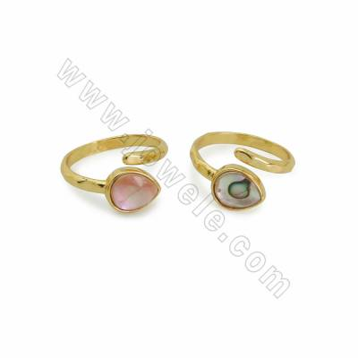 Natural Shell Cuff Rings, with Golden Plated Brass findings, inner diameter 19mm, Waterdrop 11x9mm, 6pcs/pack (Adjustable)