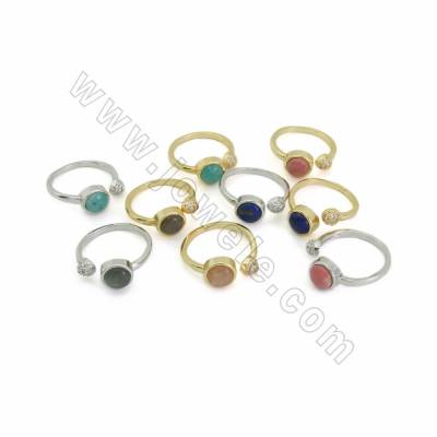 Adjustable Natural Gemstone Cuff  Rings, with Brass Micro Pave Cubic Zirconia Findings, inner diameter 17mm, 10pcs/pack