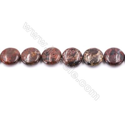 Natural Brecciated Jasper Beads Strand  Flat Round  Diameter 20mm   hole 1mm   about 20 beads/strand 15~16""
