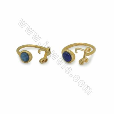 "Adjustable Natural Gemstone Cuff Rings, with Golden Plated Brass Findings, Letter ""L"", inner Diameter 17mm, 10pcs/pack"