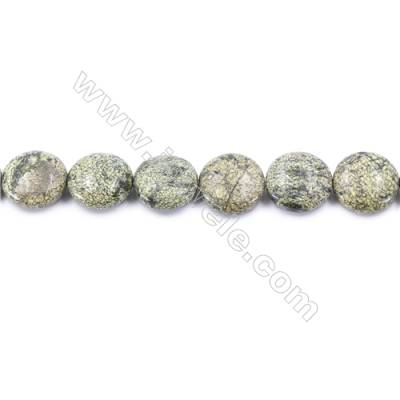 Natural Green Lace Stone Beads Strand  Flat Round  Diameter 20mm   hole 1mm   about 20 beads/strand 15~16''