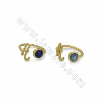 "Adjustable Natural Gemstone Cuff Rings, with Golden Plated Brass Findings, Letter ""H"", inner Diameter 18mm, 10pcs/pack"