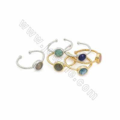 Adjustable Natural Gemstone Cuff Finger Rings, with Brass Findings, inner Diameter 19mm, 10pcs/pack