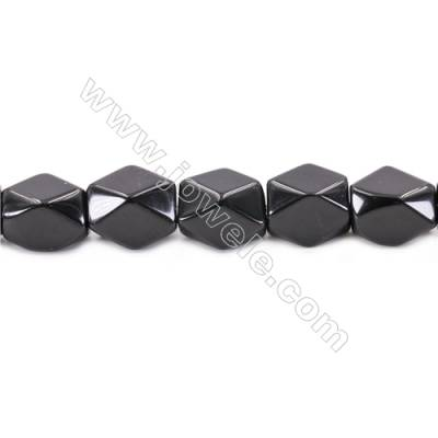 Black Stone Beads Strand  Faceted Cuboid  Size 20x18x13mm  hole 1.5mm  about 23 beads/strand 15~16''