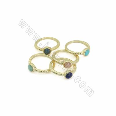 Natural Gemstone Finger Rings, with Golden Plated Brass Findings, inner Diameter 17.5mm, Round 7mm, 10pcs/pack