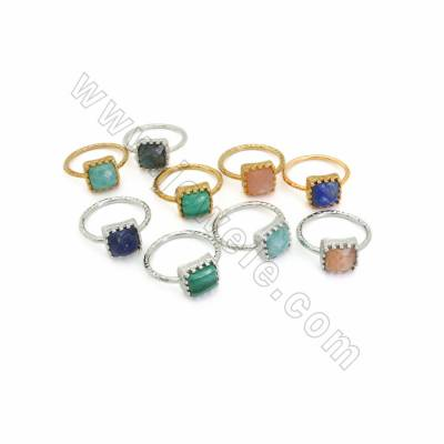 Natural Gemstone Finger Rings, with Brass Findings, inner Diameter 18.5mm, Square 10mm, 8pcs/pack, (Golden, White Gold) Plated