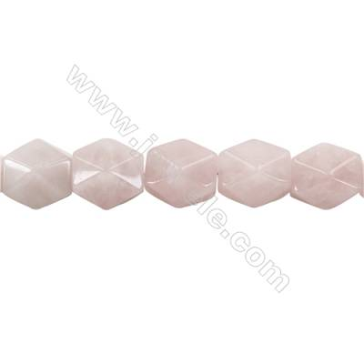 Natural Rose Quartz Beads Strand  Faceted Cuboid  Size 20x18x13mm  hole 1.5mm  about 22 beads/strand 15~16""
