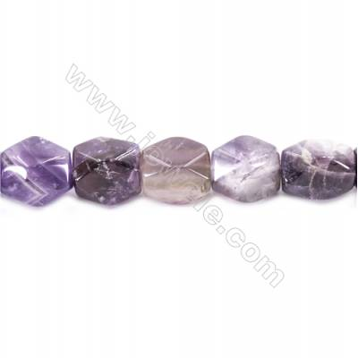 Natural Amethyst Beads Strand  Faceted Cuboid  Size 20x18x13mm  hole 1.5mm  about 22 beads/strand 15~16""