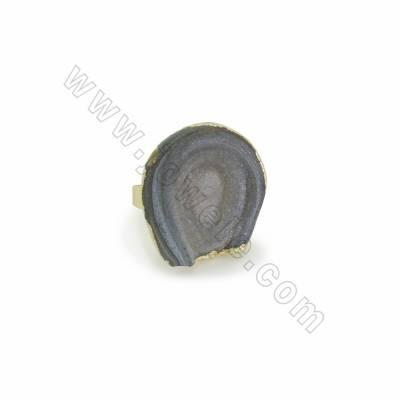 Adjustable Natural Druzy Agate Finger Rings, with Golden Plated Brass Findings, inner Diameter 18mm, 6pcs/pack