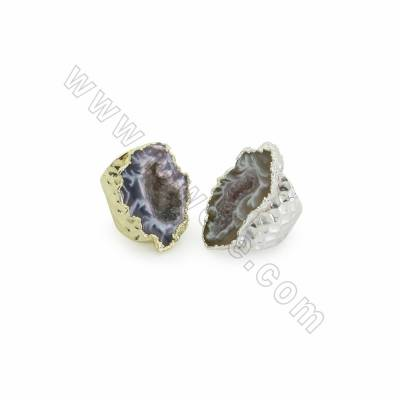 Adjustable Natural Druzy Agate Cuff Finger Rings, Wide Band Rings, with Brass Findings, inner Diameter 18mm, 6pcs/pack