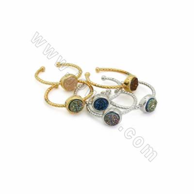 Adjustable Electroplated Natural Druzy Agate Cuff Finger Rings, with Brass Findings, inner Diameter 19mm, Round 8mm, 10pcs/pack
