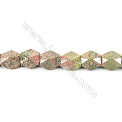 Natural Unakite Beads Strand  Faceted Cuboid  Size 20x18x13mm  hole 1.5mm  about 22 beads/strand 15~16""