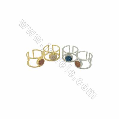 Adjustable Electroplated Natural Druzy Agate Cuff Finger Rings, with Brass Findings, inner Diameter 19mm, 6pcs/pack