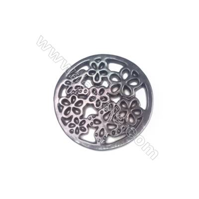 Butterfly & flower pattern openwork shell mother-of-pearl, diameter 18mm, x 10 pcs/pack