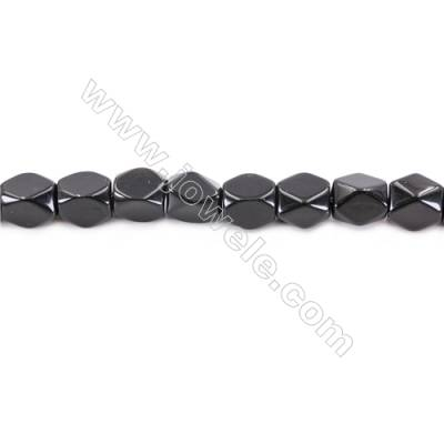 Black Stone Beads Strand  Faceted Cuboid  Size 11x9x9mm  hole 1.5mm  about 38 beads/strand 15~16''