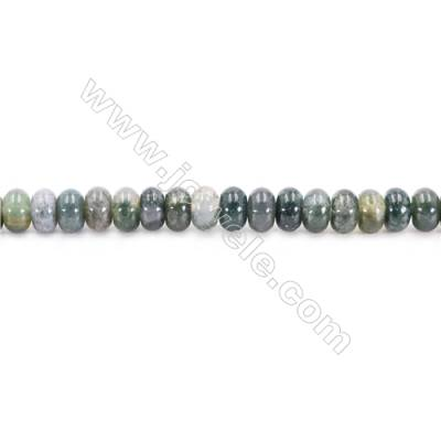 Natural Moss Agate Beads Strand Abacus  Size 5x8mm  hole 0.7mm   about 79 beads/strand 15~16""