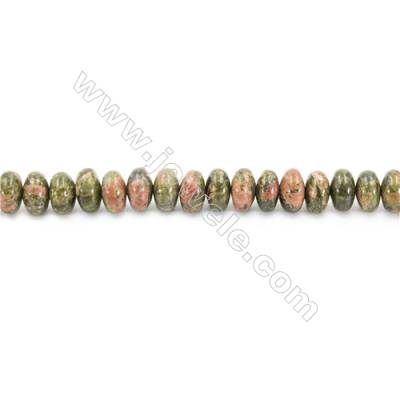 Natural Unakite Beads Strand  Abacus  Size 5x18mm  hole 0.7mm  about 83 beads/strand 15~16""