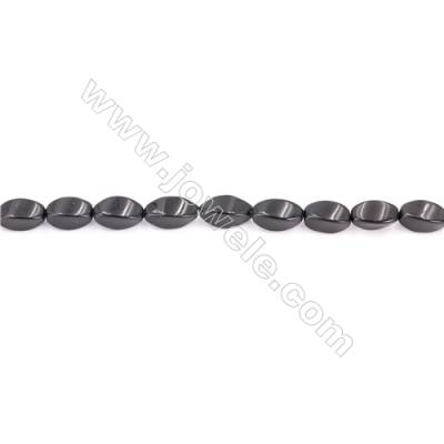 Black Stone Beads Strand  Twisted Oval  Size 6x12mm  hole 1mm  about 37 beads/strand 15~16''