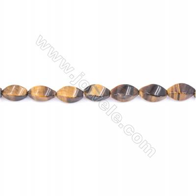 Natural Tiger Eye Beads Strand  Twisted Oval  Size 6x12mm   hole 1mm   about 33 beads/strand 15~16''