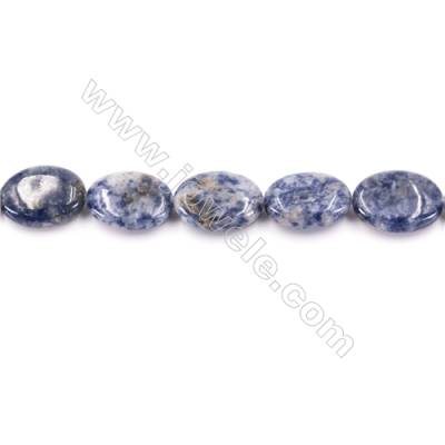 Natural Sodalite Beads Strand  Flat Oval  Size 13x18mm  Hole 1mm  about 22 beads/strand  15~16""