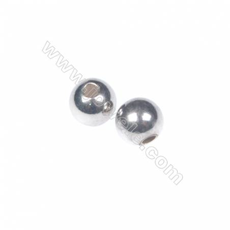 925 sterling silver plated platinum round beads, 4mm, x 100pcs, hole 1.1mm
