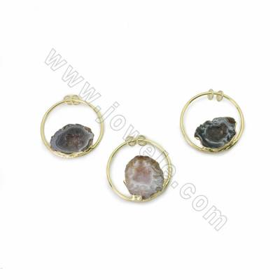 Natural Druzy Geode Agate Pendants, with Circle Gold Plated Brass findings, Diameter 45mm, Hole 5mm, 6pcs/pack