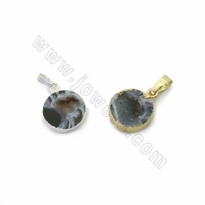Natural Geode Agate Druzy Slice Pendants, with Brass findings, Coin, Size 15mm, Hole 5x8mm, 10pcs/pack