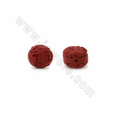 Carved Cinnabar Beads Strands, Cone, Size 16x16x14mm, Hole 1mm, 22beads/strand