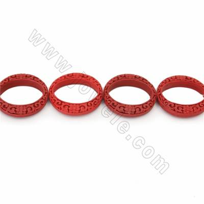 Chinoiserie Jewelry Making Cinnabar Carved Flower Pettern Beads Strands, Circle, Dark Red, Size 46x9mm, Hole 1mm, 8beads/strand