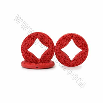 Chinoiserie Jewelry Making Cinnabar Carved Flower Pettern Beads Strands, Coins, Red, Size 45x6mm, Hole 1mm, 9beads/strand