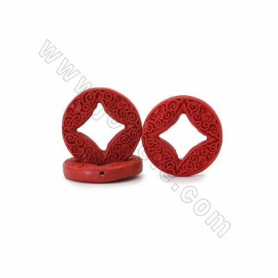 Chinoiserie Jewelry Making Cinnabar Carved Flower Pettern Beads Strands, Coins, Dark Red, Size 37x7mm, Hole 1mm, 11beads/strand