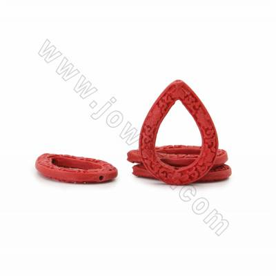 Chinoiserie Jewelry Making Cinnabar Carved Beads Strands, Waterdrop, Dark Red, Size 41x31x5mm, Hole 1mm, 10beads/strand