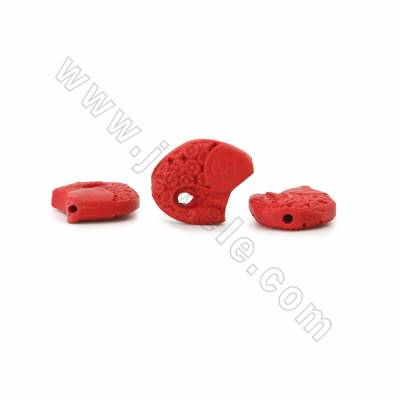 Chinoiserie Jewelry Making Cinnabar Carved Beads Strands, Chub, Dark Red, Size 22x18x6mm, Hole 1mm, 18beads/strand