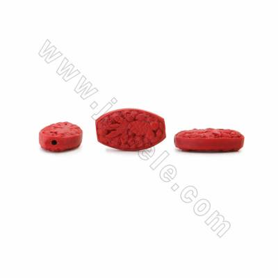 Chinoiserie Jewelry Making Cinnabar Carved Beads Strands, Flat Oval, Dark Red, Size 29x18x8mm, Hole 1mm, 14beads/strand