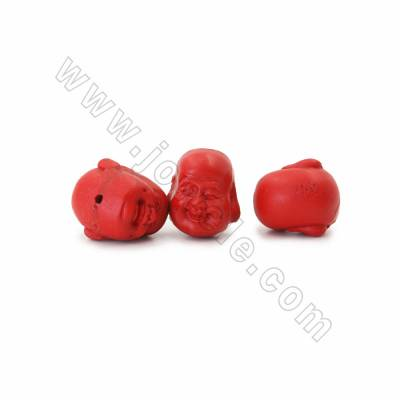 Chinoiserie Jewelry Making Cinnabar Carved Beads Strands, Maitreya Buddha, Dark Red, Size 17x20x20mm, Hole 1mm, 18beads/strand