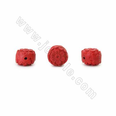 Cinnabar Beads Strands, Carved Flower, Dark Red, Size 15x11x15mm, Hole 1mm, 23beads/pack