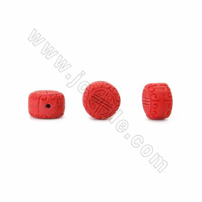 Cinnabar Carved Beads Strands, Drum, Red, Size 18x11x18mm, Hole 1mm, 22beads/strand