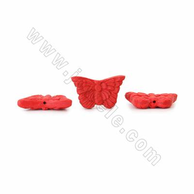 Cinnabar Carved Beads Strands, Butterfly, Red, Size 38x8x22mm, Hole 1mm, 20beads/strand