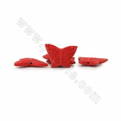 Cinnabar Carved Beads Strands, Butterfly, Dark Red, Size 36x9x20mm, Hole 1mm, 19beads/strand